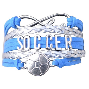 Soccer Infinity Bracelet- Blue - Infinity Collection