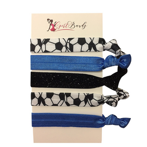 Soccer Hair Ties- Blue - Infinity Collection