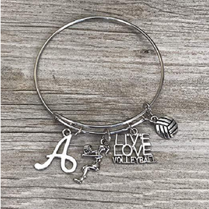 Personalized Volleyball Bangle Bracelet with Letter Charm - Infinity Collection