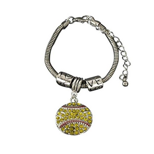 Softball Rhinestone Charm Bracelet - Infinity Collection