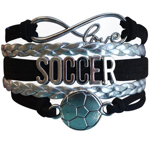 Girls Soccer Infinity Bracelet - Black - Infinity Collection