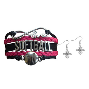 Softball Jewelry Set ( Bracelet & Earrings) - Infinity Collection