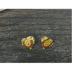 Softball Heart Rhinestone Earrings - Infinity Collection
