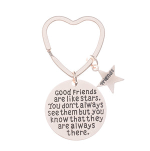 Best Friends Keychain-Rose Gold Good Friends Heart Keychain- Friend Jewelry- Perfect Gift for Friends - Infinity Collection