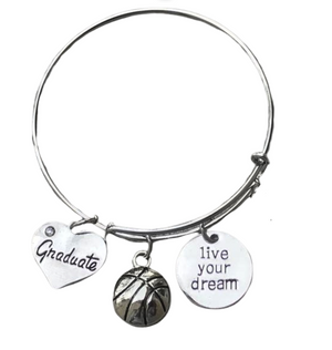 Basketball Graduation Bangle Bracelet - Infinity Collection
