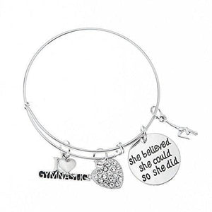 Gymnastics She Believed She Could So She Did Bangle Bracelet - Infinity Collection