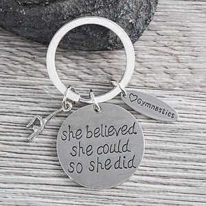 Gymnastics She Believed She Could So She Did Keychain - Infinity Collection