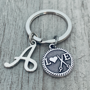 Personalized Hair Stylist Charm Keychain with Letter Charm
