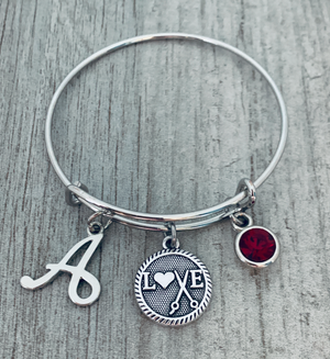 Personalized Hair Stylist Bracelet with Birthstone & Letter Charms