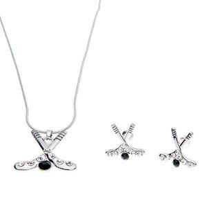 Hockey Heart Stick Earrings & Necklace - Infinity Collection