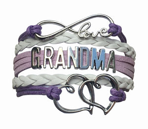 Grandma Bracelet, Grandma Jewelry, Purple Grandma Charm Bracelet- Best Gift for Grandmas - Infinity Collection