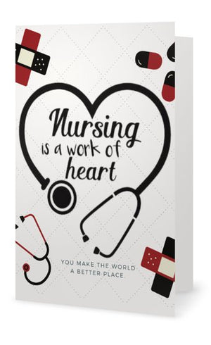 Nurse Keychain & Card - Nursing is a Work of Heart - Infinity Collection