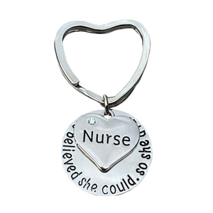 Nurse Heart Keychain, She Believed She Could So She Did Nurse Gift - Infinity Collection