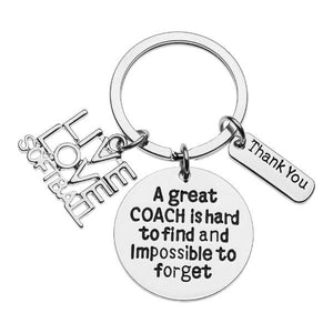 Softball Coach Keychain- Great Coach is Hard to Find But Impossible to Forget - Infinity Collection