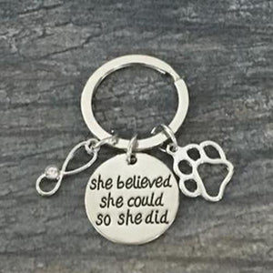 Veterinarian She Did Keychain - Infinity Collection