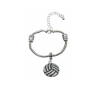 Volleyball Rhinestone Charm Bracelet - Infinity Collection