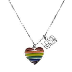 Love Wins Necklace, Gay Pride Awareness Rainbow Striped Heart Charm - Infinity Collection
