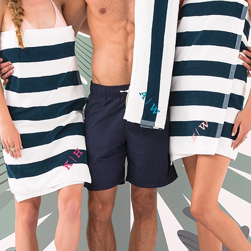Navy Striped Terry Beach Towel