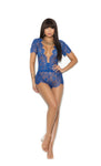 Eyelash lace short sleeve plunge romper-come in plus size