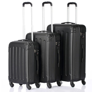"3-in-1 Portable ABS Trolley Case 20"" / 24"" / 28"" Black"