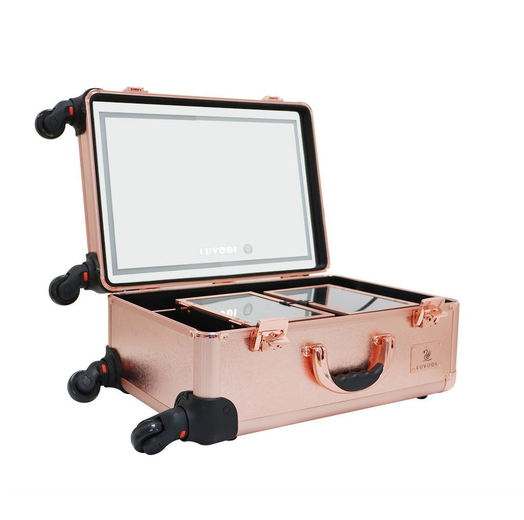 Travel luvodi Professional Trolley Makeup Case with Huge LED Mirror and Large Storage with Two Extendable Trays in Rose Gold