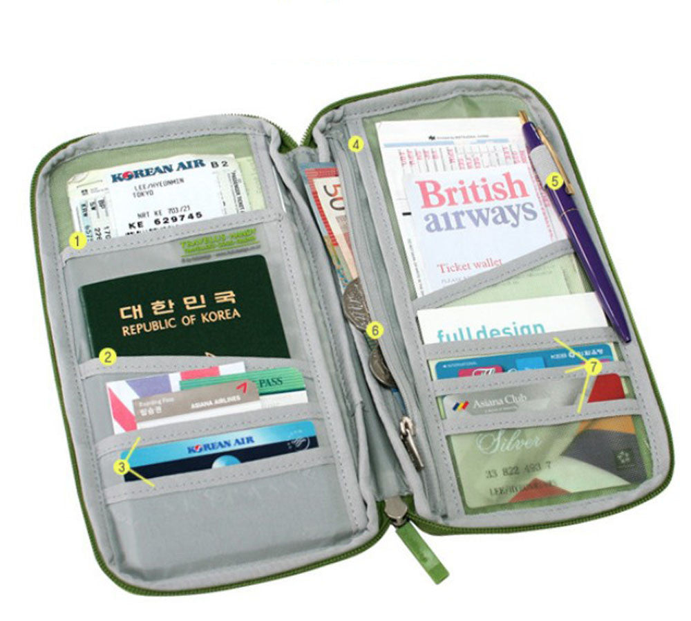 Travel Multifunction Bag Pouch Passport ID Credit Card Wallet Cash Holder Case