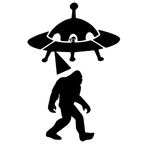 9.6cm*14.4cm Sasquatch Abduction UFO Alien Bigfoot Car Sticker Vinyl Black/Silver S3-5185