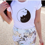EAST KNITTING CD-H1291 New Fashion 2017 Women Cute t-shirt Yin Yang Cats Print Shirt Tee Funny Girl Tees