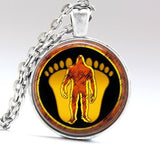 Bigfoot Necklace Bigfoot pendant , Sasquatch Jewelry, feet and silhouette long necklace