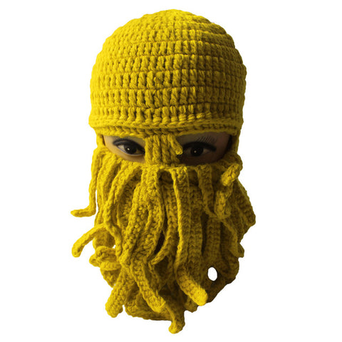New Winter Beanies Imitation Haze Beard Octopus Hat Best Man Funny Mask Cap Wool Knitted Hat Winter Hat for Man