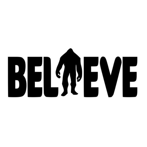 8.2CM*3.1CM Believe Bigfoot Sasquatch Decal Car Stickers Motorcycle Car Styling Accessories Black/Sliver C8-1439