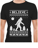 Printed tee shirt design Bigfoot I Believe Xmas Sasquatch Ugly Christmas T-Shirt Circle t shirt designers