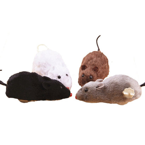 Hot Creative Funny Clockwork Spring Power Plush Mouse Toy Cat Dog Playing Toy Mechanical Motion Rat Pet Accessories
