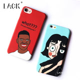 LACK Phone Case For iphone 6 6S Plus Funny Cartoon Emoji Cases Luxury 3D Relief Cat Girl Back Cover Fashion Letter Hard Capa