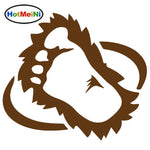 HotMeiNi Magical Fairy Tale Bigfoot Hairy Foot Print Novel Funny Car Sticker Motorcycles Kayak Car Covers Vinyl Decal 9 Colors