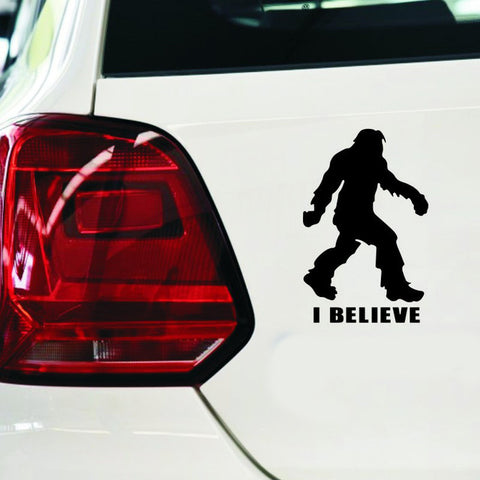 1PC 12*18.6cm Cartoon Animals Bigfoot Sasquatch I Believe Stickers Car Styling Anime Car Stickers Decals Exterior Accessories