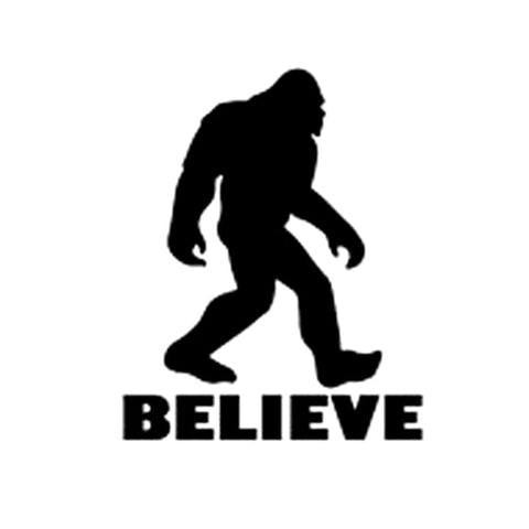 9.2CM*11.2CM Funny Car Stickers ,Bigfoot Sasquatch believe Sticker Decal funny car Stylings Car Accessories Black/Sliver C8-0247