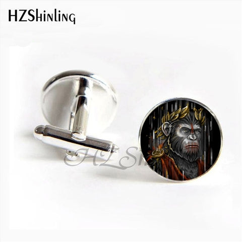 HZShinling 2017 New Design Ape man Cufflinks Handmade Round BIGFOOT Cuff Link Glass Dome Art Photo I love Apes Cufflink for men