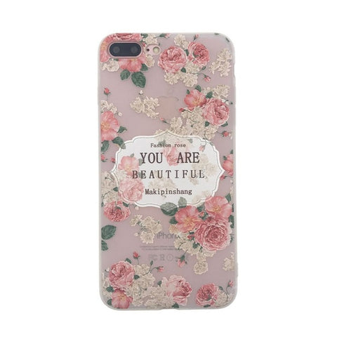 LACK Ultra thin Soft TPU Phone Case For iphone 7 Case Lovely Lace Floral Back Cover For iphone 7 Plus Cartoon Plants Leaf Cases