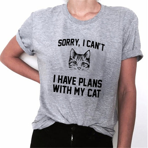 WT0057 Funny Saying Cat Pattern T shirt Casual Cotton Summer Slim Basic T-Shirt