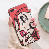 LACK Cool Girl Pattern Phone Case For iphone X Case For iphone 6S 6 7 8 Plus Back Cover Fashion ins Style Cartoon Cases Coque
