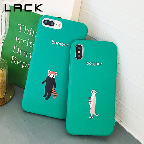 LACK Summer Vintage Green Phone Case For iphone X Case For iphone 6 6S 7 8 Plus Cover Lovely Cartoon Animal Fox Cases Soft Capa