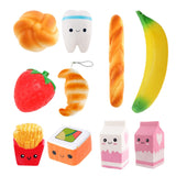 10 Styles Funny Squishy Toys French Fries / Milk / Fruit Elastic PU Stress Relief Anti Stress Squeeze Toy Kids Squishies Fun Toy