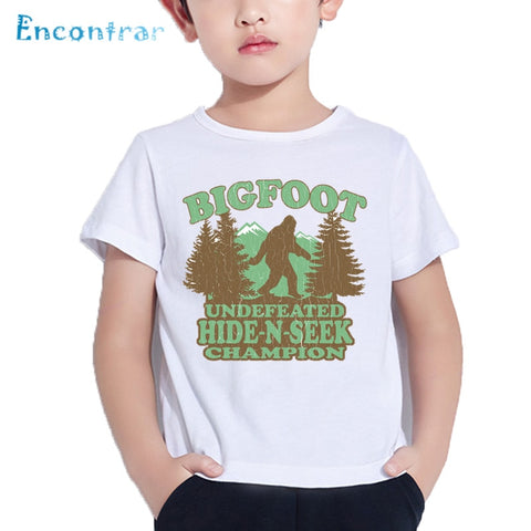 Kids Bigfoot Hide-N-Seek Champion Print Funny T shirt Baby Summer Comfortable Tops Boys and Girls Casual T-shirt,HKP5600