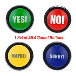4Pcs 1Set YES NO MAYBE SORRY Button Gag Sound Button Toy Prank Event Party Tool