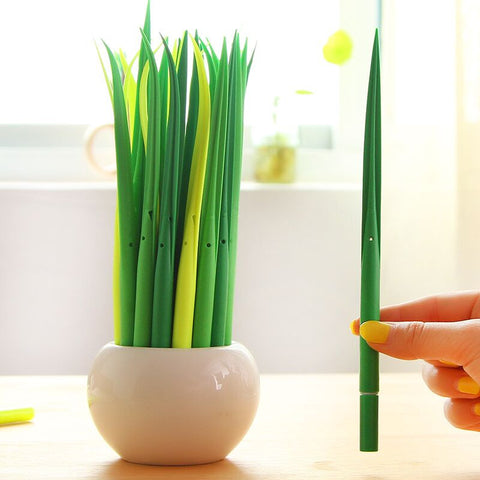 Funny Grass Leaf Grass-Blade Ball Pen Stationery Gel Pen Decoration Office Gift