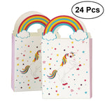 24pcs Unicorn Paper Bags with Rainbow Handle Party Gift Candy Bags