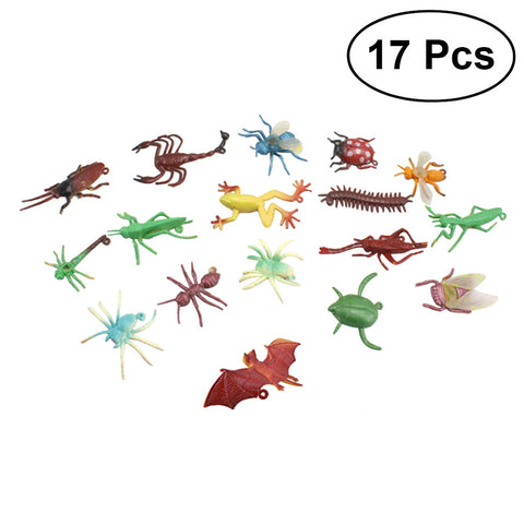 17pcs Mini Insect Bug Animal Figures Toys Joke Trick Gag Toy