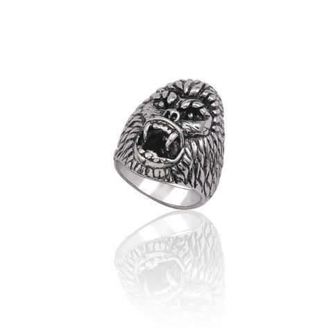 Vintage Silver Punk Cool Men Ring Steampunk Gorilla Head Stainless Steel Rings Gothic Animal Biker Man Jewelry Anel Masculino
