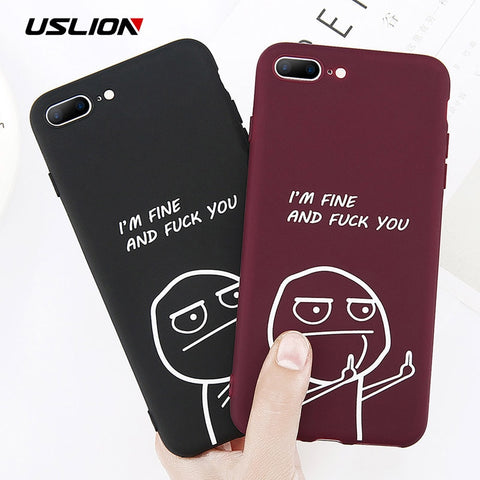 USLION Funny Letter Phone Case For iPhone 8 7 Plus X Middle Finger Emoji TPU Silicone Back Cover For iPhone 6 6s Plus Soft Cases